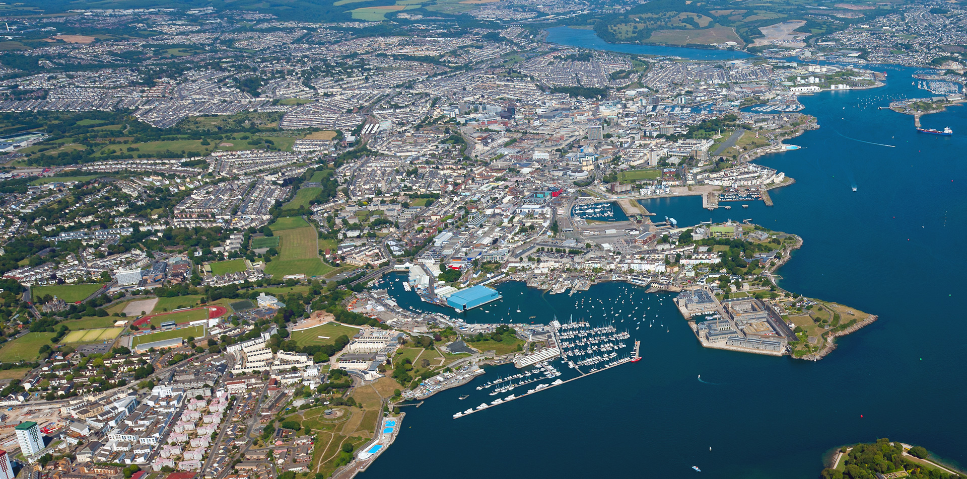 Arial shot of Plymouth